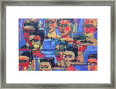 Frida Blue And Orange Framed Print