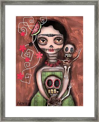 Frida Day Of The Dead Framed Print by  Abril Andrade Griffith