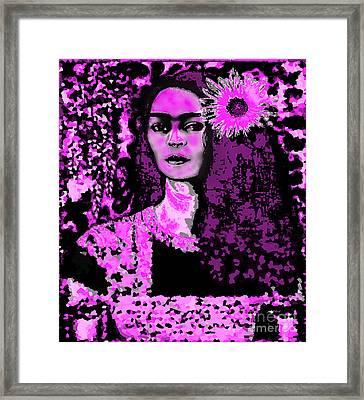 Frida In Frida Pink Framed Print by Fania Simon