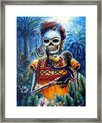 Framed Print featuring the painting Frida In The Moonlight Garden by Heather Calderon