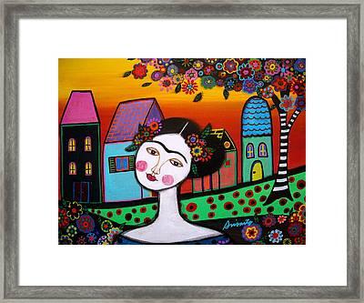 Frida In Town Framed Print by Pristine Cartera Turkus