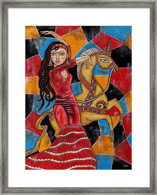Frida Kahlo Dancing With The Unicorn Framed Print by Rain Ririn