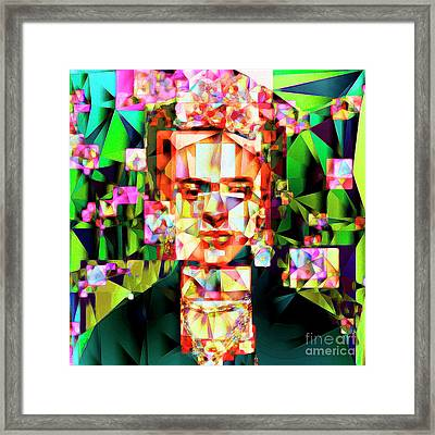 Framed Print featuring the photograph Frida Kahlo In Abstract Cubism 20170326 V3 Square by Wingsdomain Art and Photography