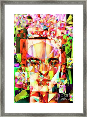 Framed Print featuring the photograph Frida Kahlo In Abstract Cubism 20170326 V4 by Wingsdomain Art and Photography