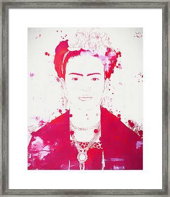 Frida Kahlo Paint Splatter Framed Print