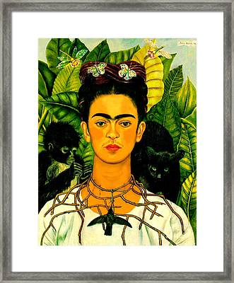 Frida Kahlo Self Portrait With Thorn Necklace And Hummingbird Framed Print
