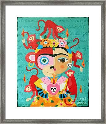 Frida Kahlo Year Of The Monkey Framed Print by LuLu Mypinkturtle