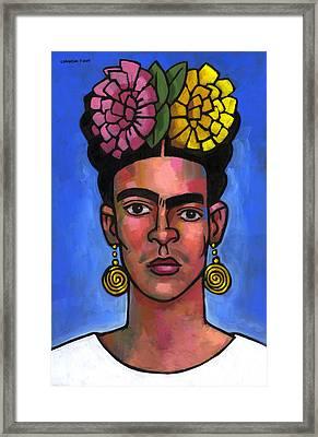 Frida On Blue Background Framed Print by Douglas Simonson