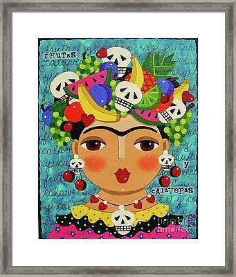 Frida, Skulls And Fruits Framed Print