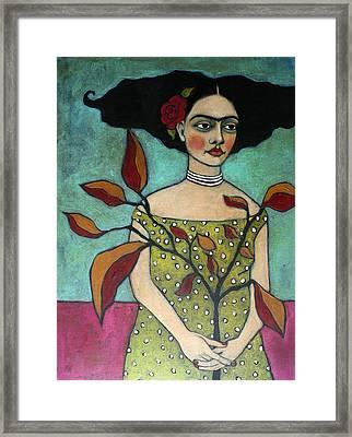 Frida With A Branch Framed Print by Jane Spakowsky