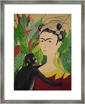 Framed Print featuring the painting Frida With Monkey And Bird by Stephanie Moore