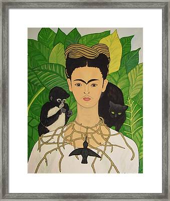 Framed Print featuring the painting Frida With Monkey And Cat by Stephanie Moore