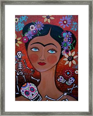 Frida With Skulls Framed Print