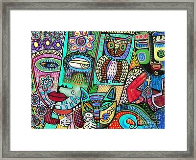 -frida's Garden Owl And Cat Framed Print