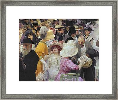 Friday At The French Artists Salon Framed Print by Jules Alexandre Grun