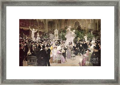 Friday At The Salon Framed Print by Jules Alexandre Grun