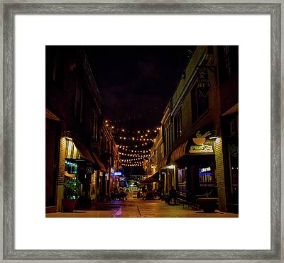 Friday Night Alley Framed Print