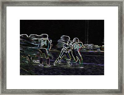 Framed Print featuring the pyrography Friday Night Under The Lights by Chris Thomas