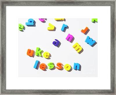 Fridge Magnet Letters Spell  Uke Lesson Framed Print