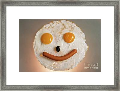 Fried Breakfast Of Eggs And Sausage Made Into A Smiling Face Framed Print by Sami Sarkis