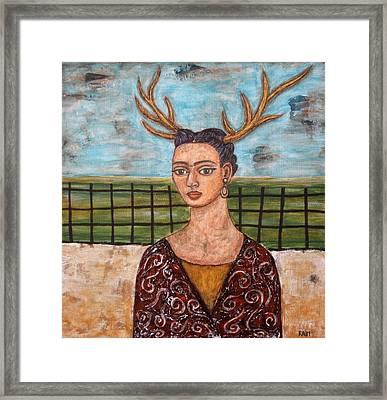 Frieda Kahlo As The Deer Framed Print by Rain Ririn