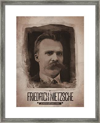 Friedrich Nietzsche Framed Print by Afterdarkness