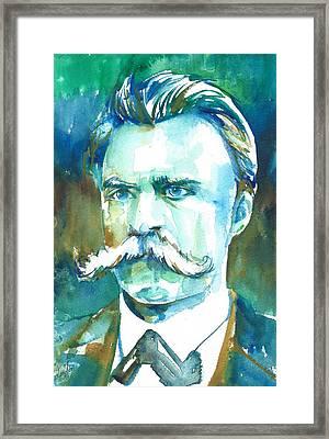 Friedrich Nietzsche Watercolor Portrait.1 Framed Print