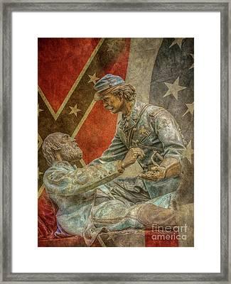 Friend To Friend Monument Gettysburg Flags Framed Print