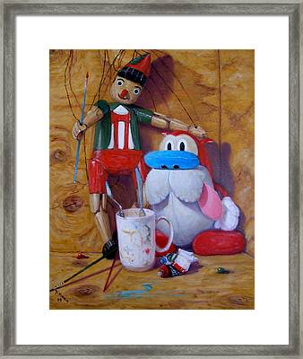 Friends 2  -  Pinocchio And Stimpy   Framed Print