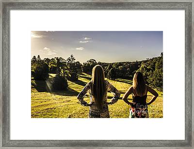 Friends Enjoying A Sunshine Coast Sunset Framed Print