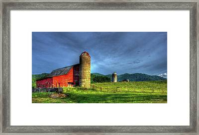 Friends For Life Great Smoky Mountains Red Barn Art Framed Print by Reid Callaway