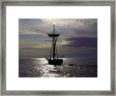 Friends Good Will Tall Ship Silhouette Framed Print by Richard Gregurich