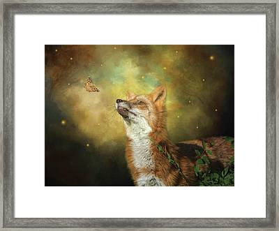 Friends On A Firefly Evening Framed Print