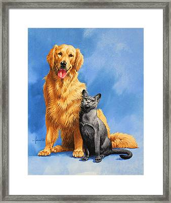 Friends On Blue Framed Print by John Francis