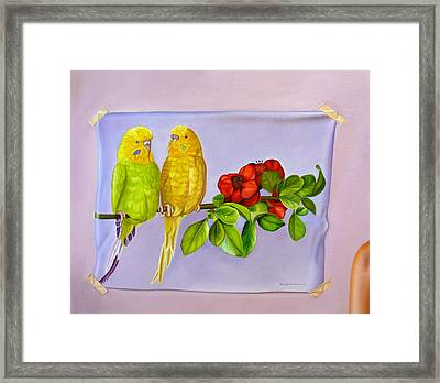 Friends On Flora Framed Print