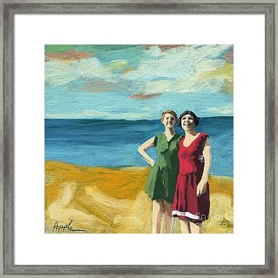 Friends On The Beach Framed Print by Linda Apple