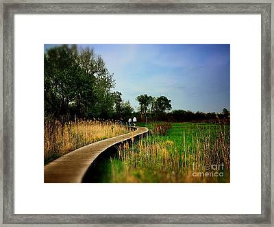 Friends Walking The Wetlands Trail Framed Print