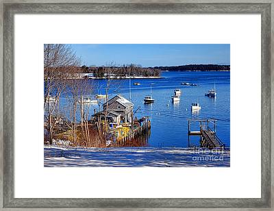 Friendship Harbor In Winter Framed Print by Olivier Le Queinec