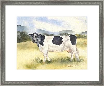 Friesian Cow Framed Print by Sandra Phryce-Jones