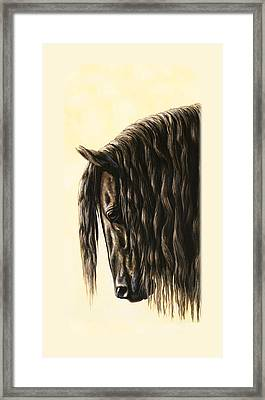 Friesian Horse Phone Case Framed Print by Crista Forest