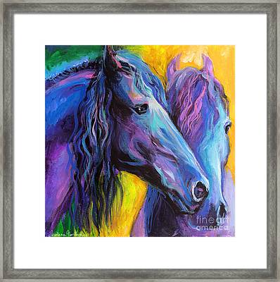 Friesian Horses Painting Framed Print