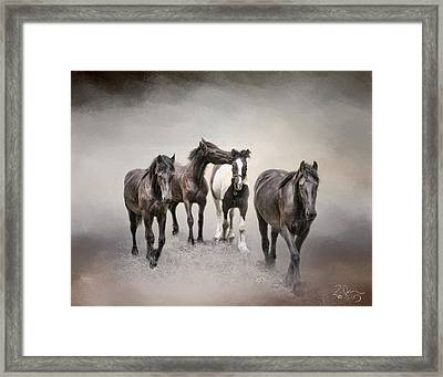 Friesian Horses The Boys And Baby Sister Framed Print