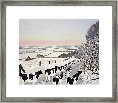 Friesians In Winter Framed Print