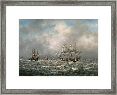 Frigate Awaiting A Pilot Framed Print by Richard Willis