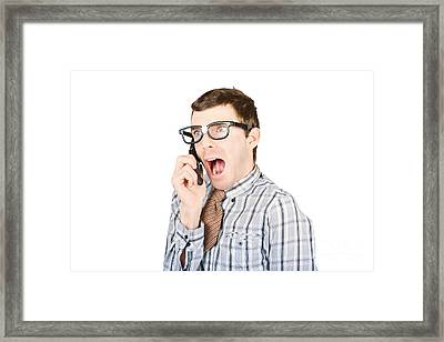 Frightened Man With Bad News Communication Framed Print
