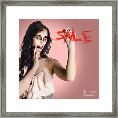 Frightening Businesswoman Writing Sale In Blood Framed Print by Jorgo Photography - Wall Art Gallery