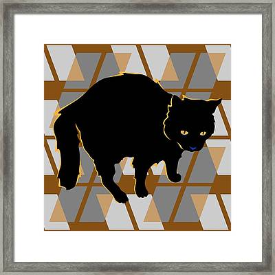 Frightful Black Halloween Cat Framed Print