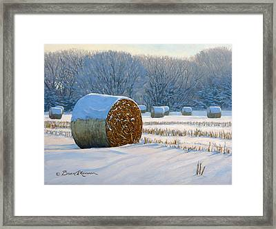 Frigid Morning Bales Framed Print by Bruce Morrison