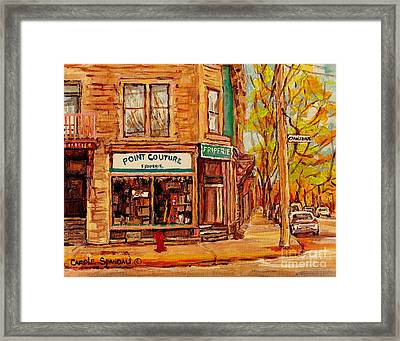 Friperie Pointe Couture Stores And Streets Of Verdun And Psc Canadian Paintings Carole Spandau Art Framed Print by Carole Spandau