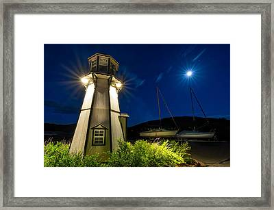Frisco Moonlit Lighthouse Framed Print by Michael J Bauer